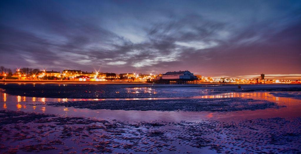 Cleethorpe beach and pier at night