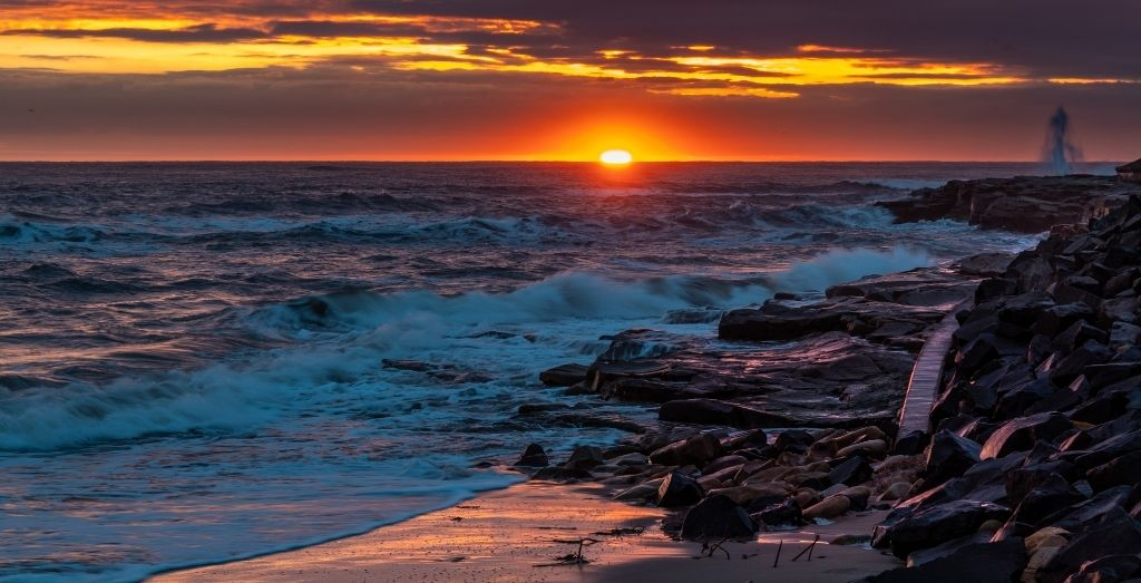 Cresswell Beach at sunset in Northumberland