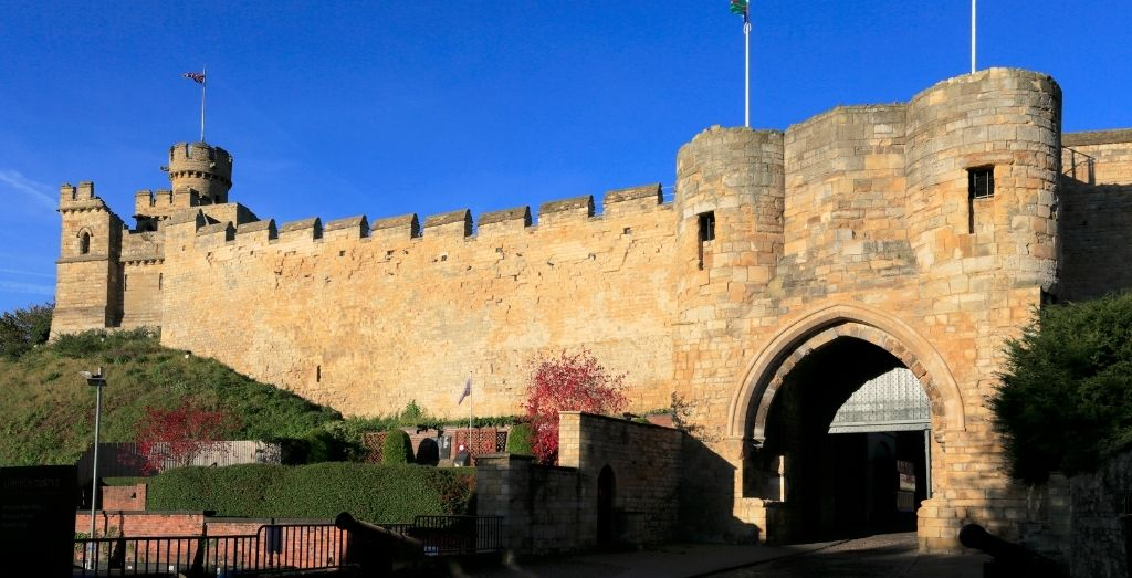 Front entrance of Lincoln Castle in Lincolnshire