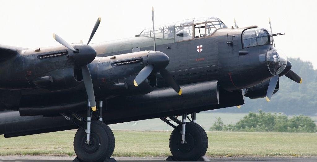 An Avro Lancaster (Lancaster Bomber) British Second World War heavy bomber