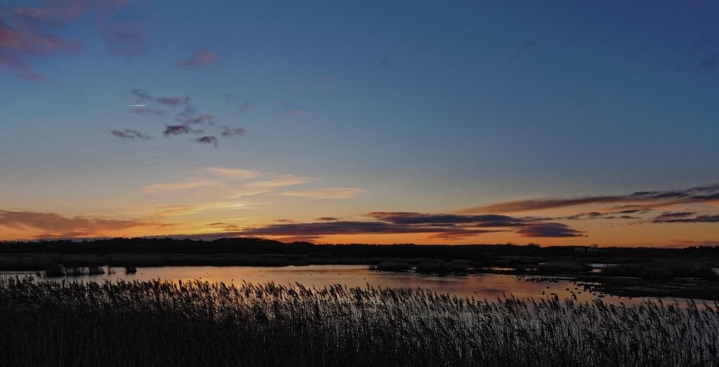 Sunset at St Aidan's Nature Park in Yorkshire
